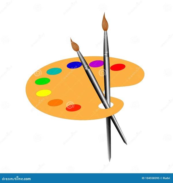 Isolated Palette Brushes Logo. Stock Vector - Illustration