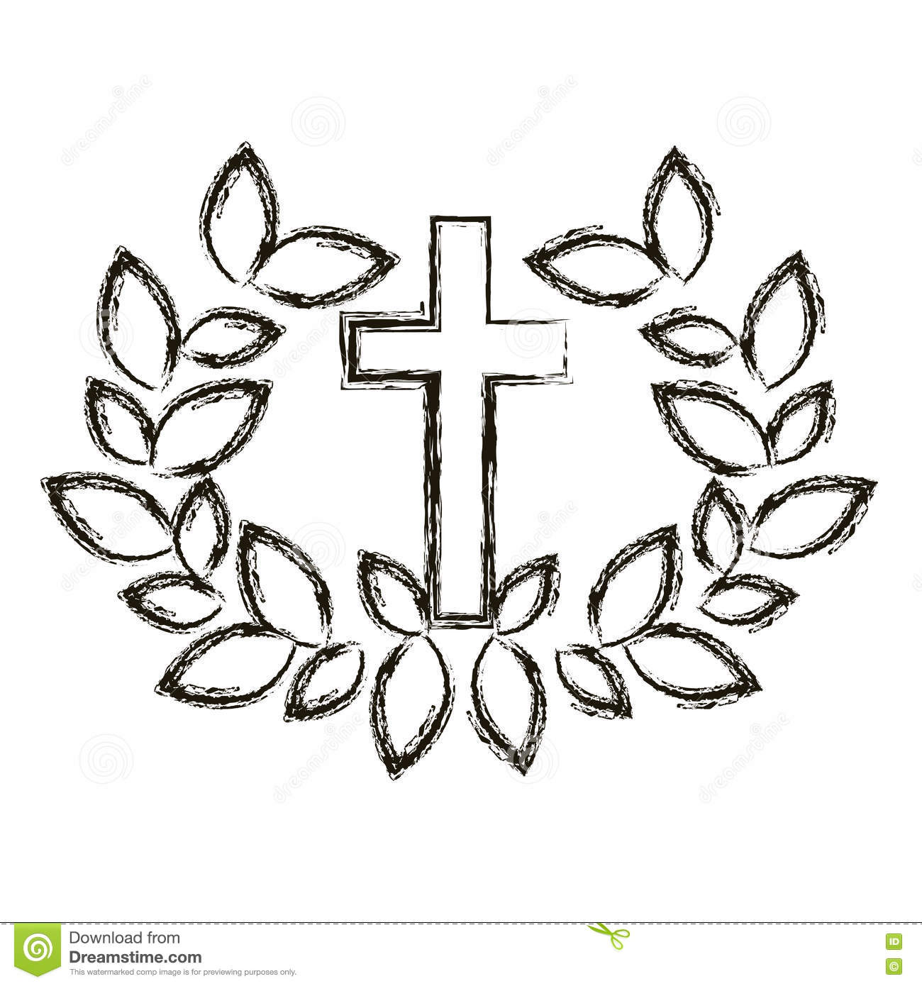 Isolated Religion Cross And Wreath Design Stock Vector