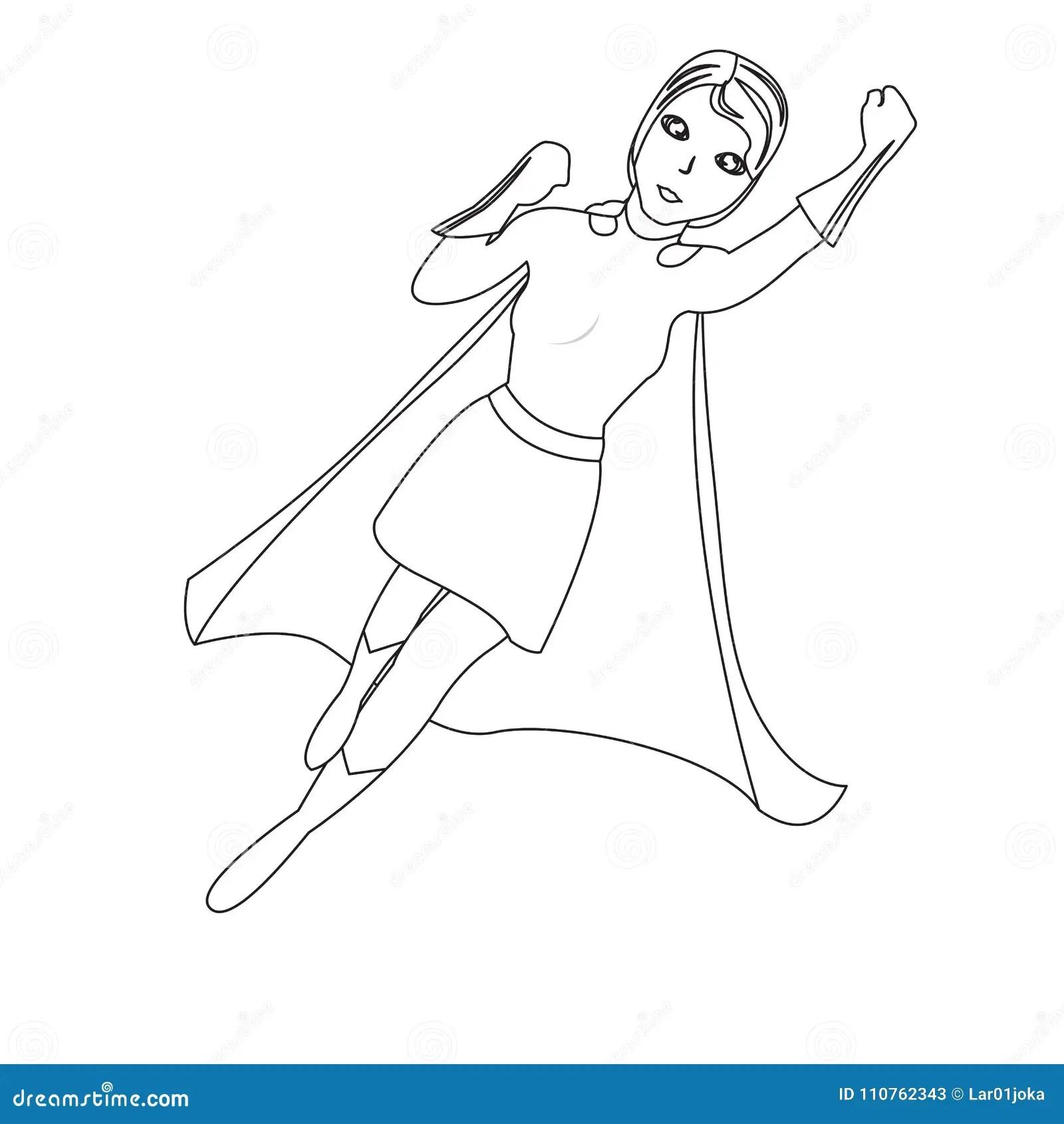 Superwoman Cartoon Character Sketch Stock Vector