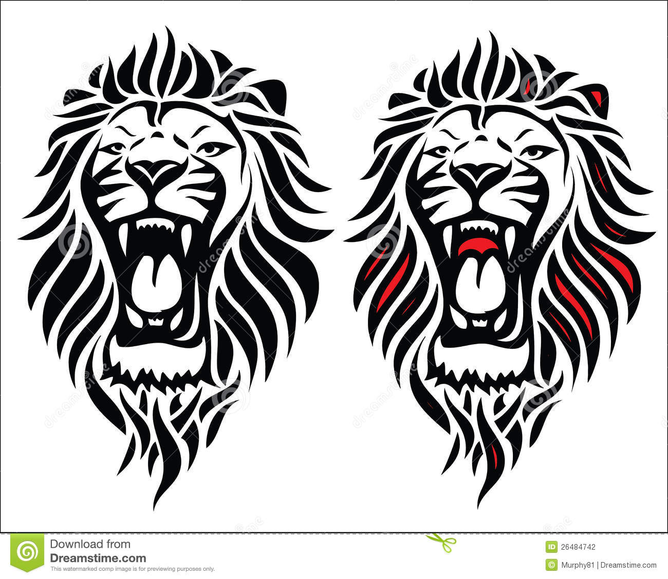 Isolated Tribal Lion Tattoo Stock Photography
