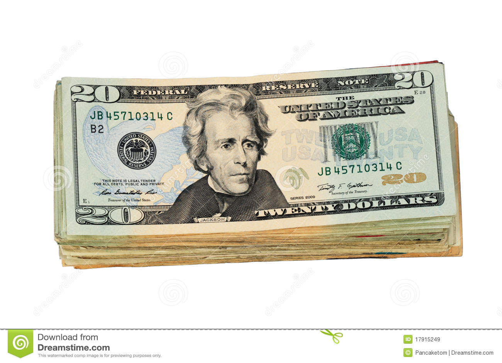 Isolated US Twenty Dollar Bill Stack Stock Image  Image