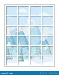 window cartoon frame flat isolated forest winter christmas vector