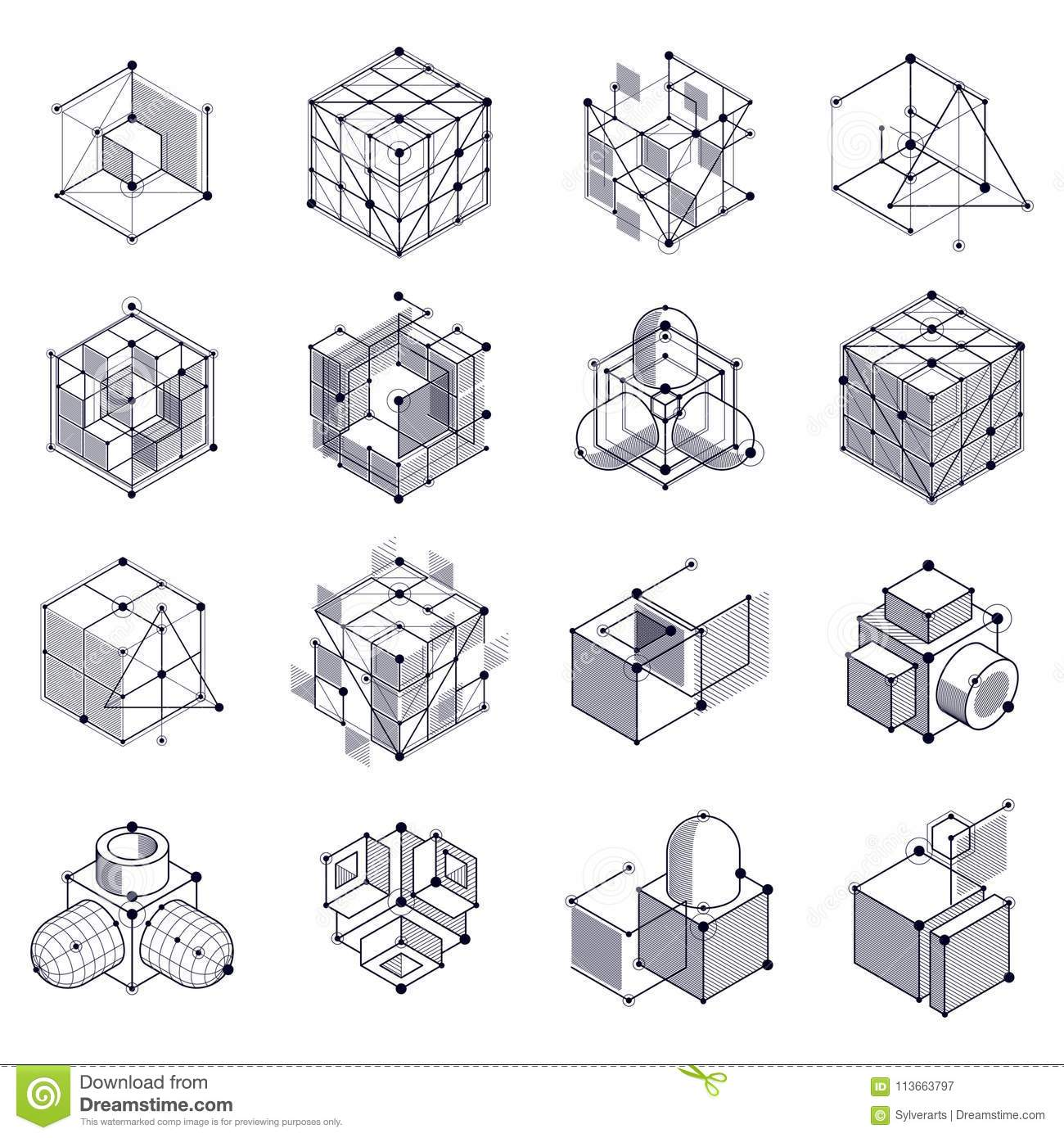 Isometric Abstract Black And White Backgrounds Set With
