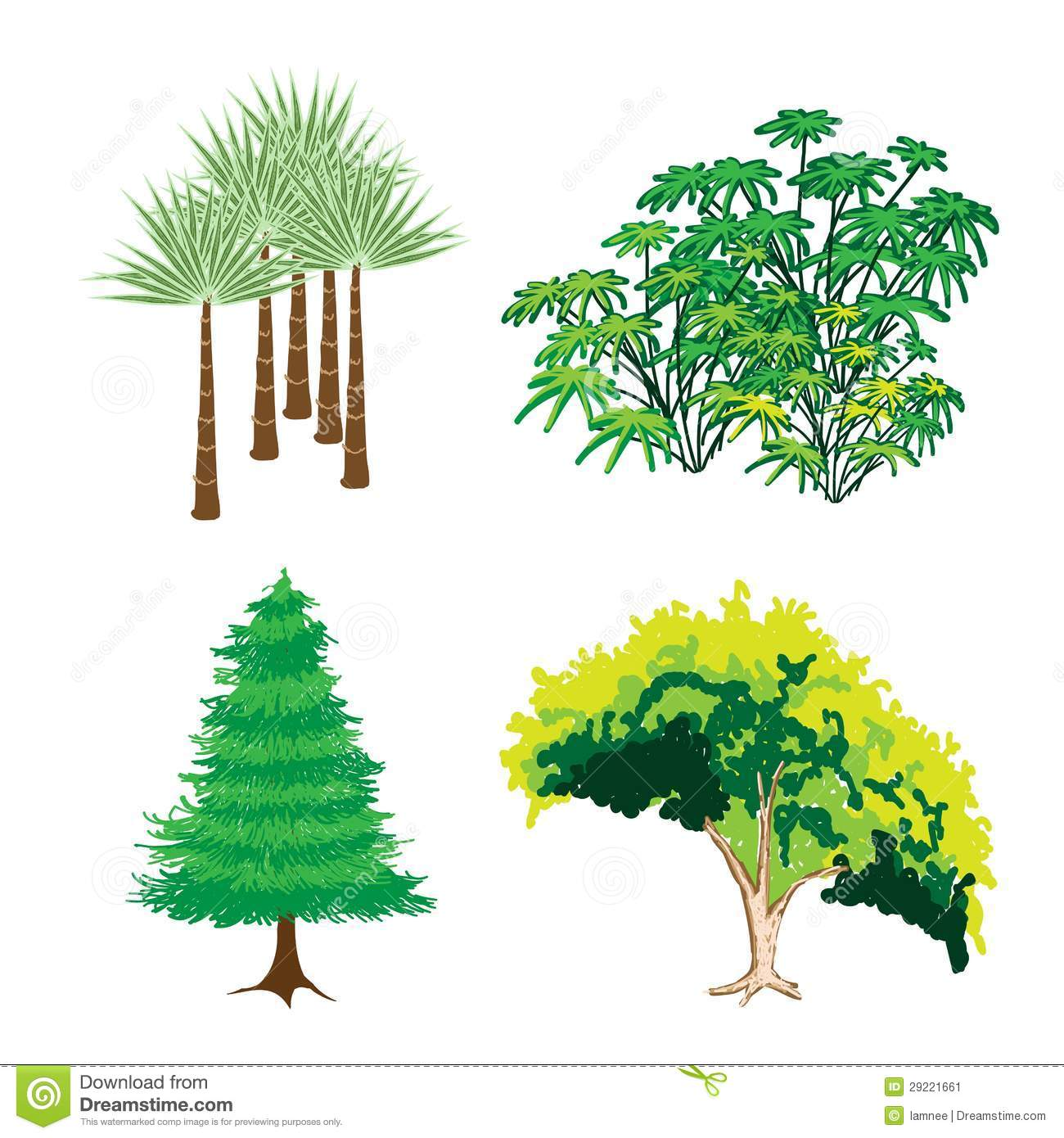 An Isometric Collection Of Green Trees And Plants Stock