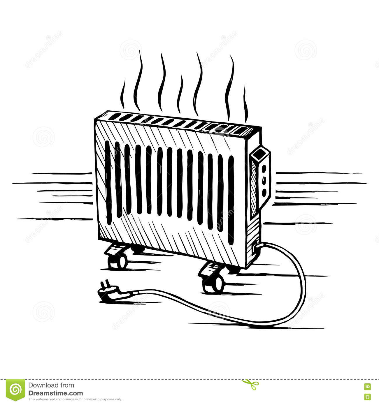 Isometric Convector Appliances Heater Sketch Vector Illustration Stock Vector