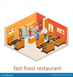 Isometric Fast Food Restaurant Stock Illustration Illustration of clipart inside: 71373936