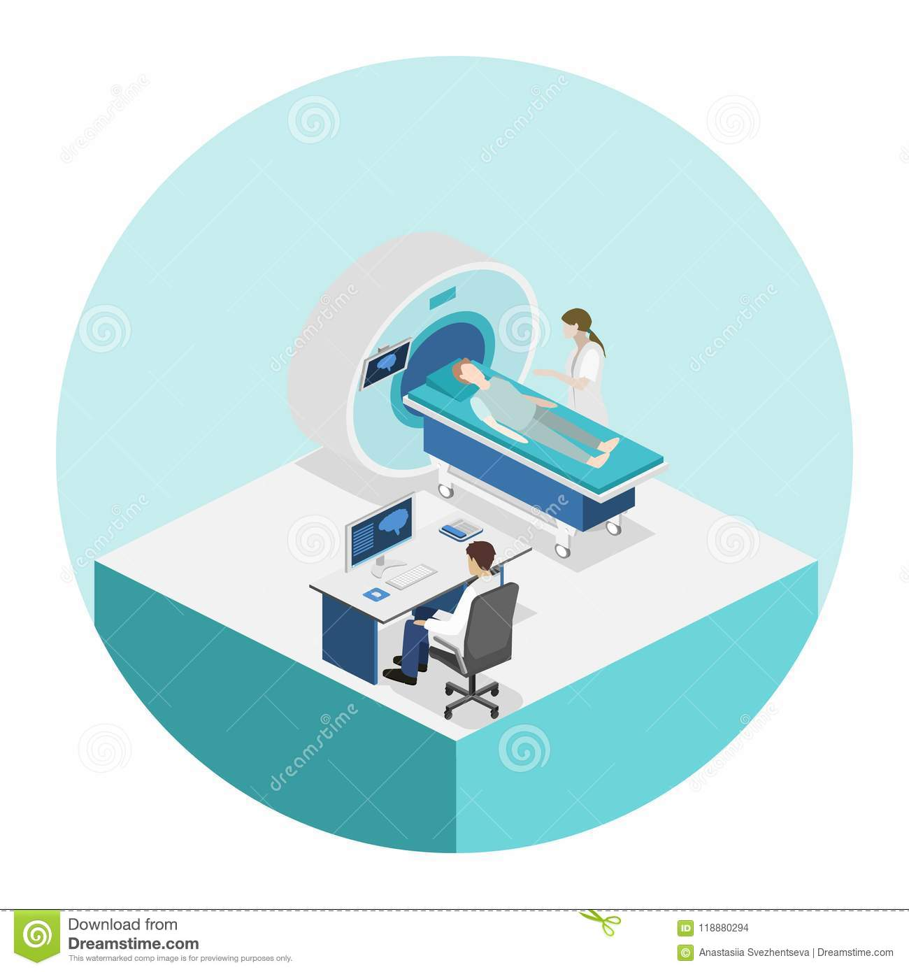 hight resolution of isometric flat 3d concept hospital medical mri web illustration