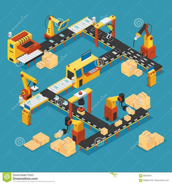Industrial Robot Isometric Concept Cartoon Vector