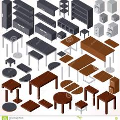 Office Chair Vector Collapsible Rocking Isometric Furniture Collection Stock