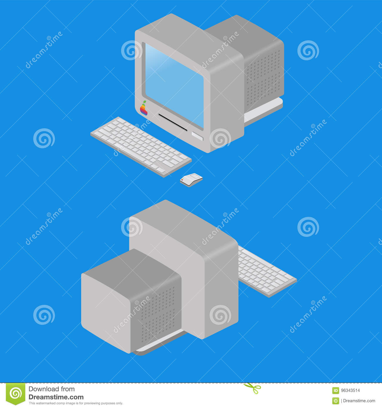 hight resolution of old computer diagram wiring diagram forward isometric old computer on blue background stock vector old computer