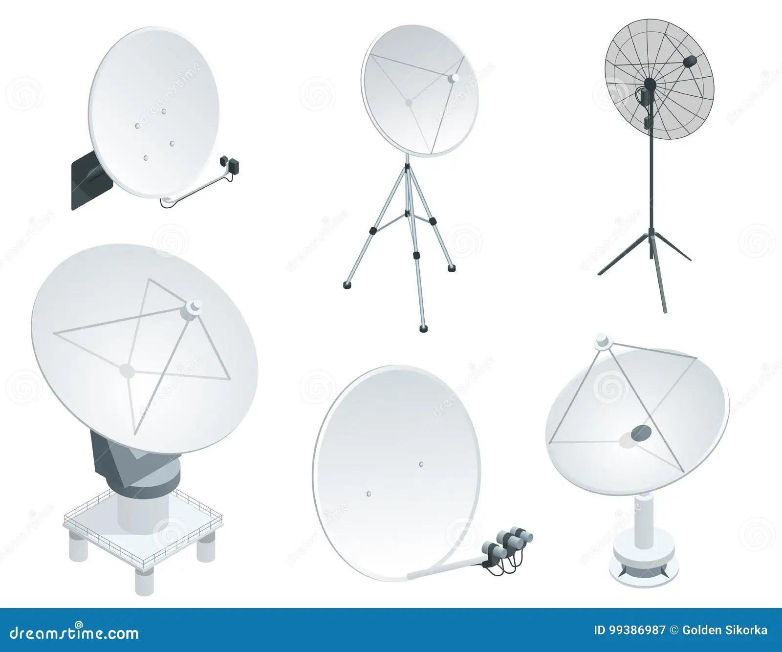 hight resolution of isometric set satellite dish antennas on white wireless communication equipments