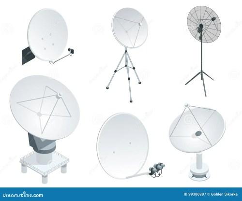 small resolution of isometric set satellite dish antennas on white wireless communication equipments