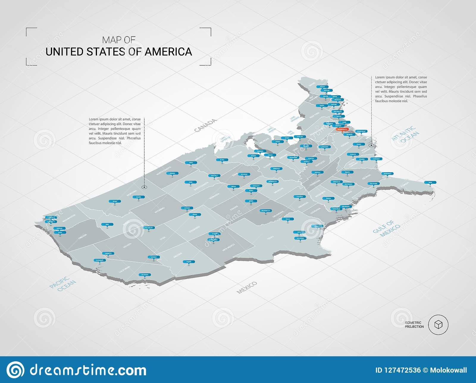 Isometric United States Of America Map With City Names And Admin Stock Vector Illustration Of Design Mapping 127472536