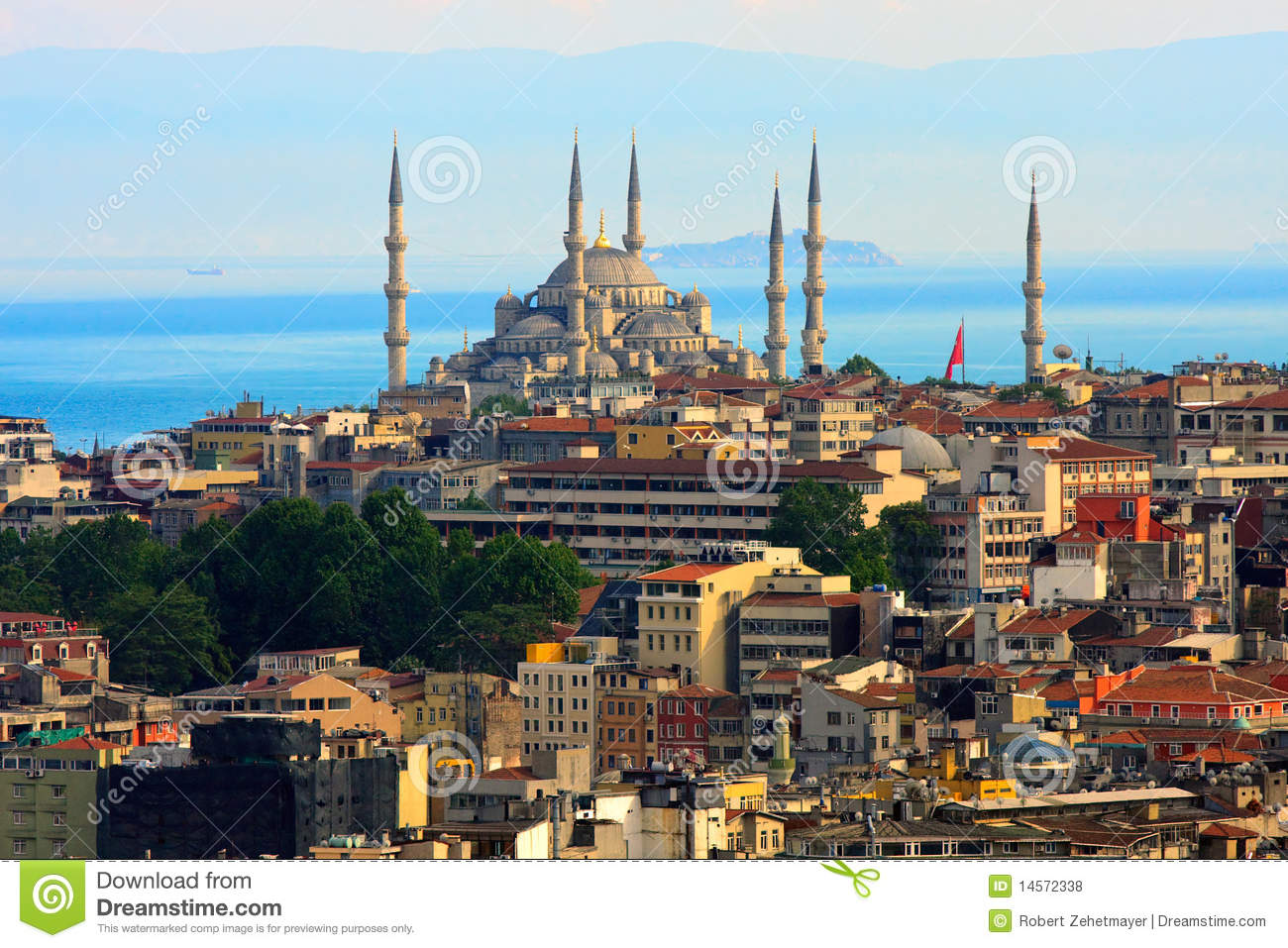 Istanbul Skyline With Blue Mosque Stock Photo Image Of