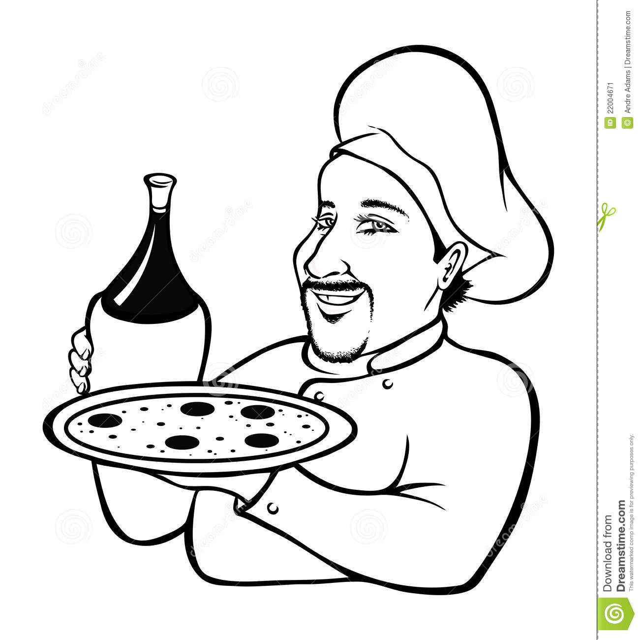 Italian Chef Coloring Book Cartoon Vector