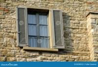 Italian Style Window On A Brick House Wall Stock Image ...