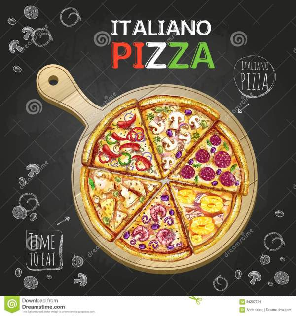 Italiano Pizza Poster Background Stock Vector - Illustration Of Cooking Meal 56207724