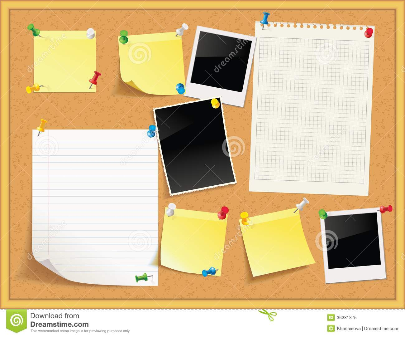 Items Pinned To A Cork Message Board With Wood Frame Royalty Free Stock Photo