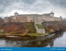 Ivangorod Fortress Narva River. Stock