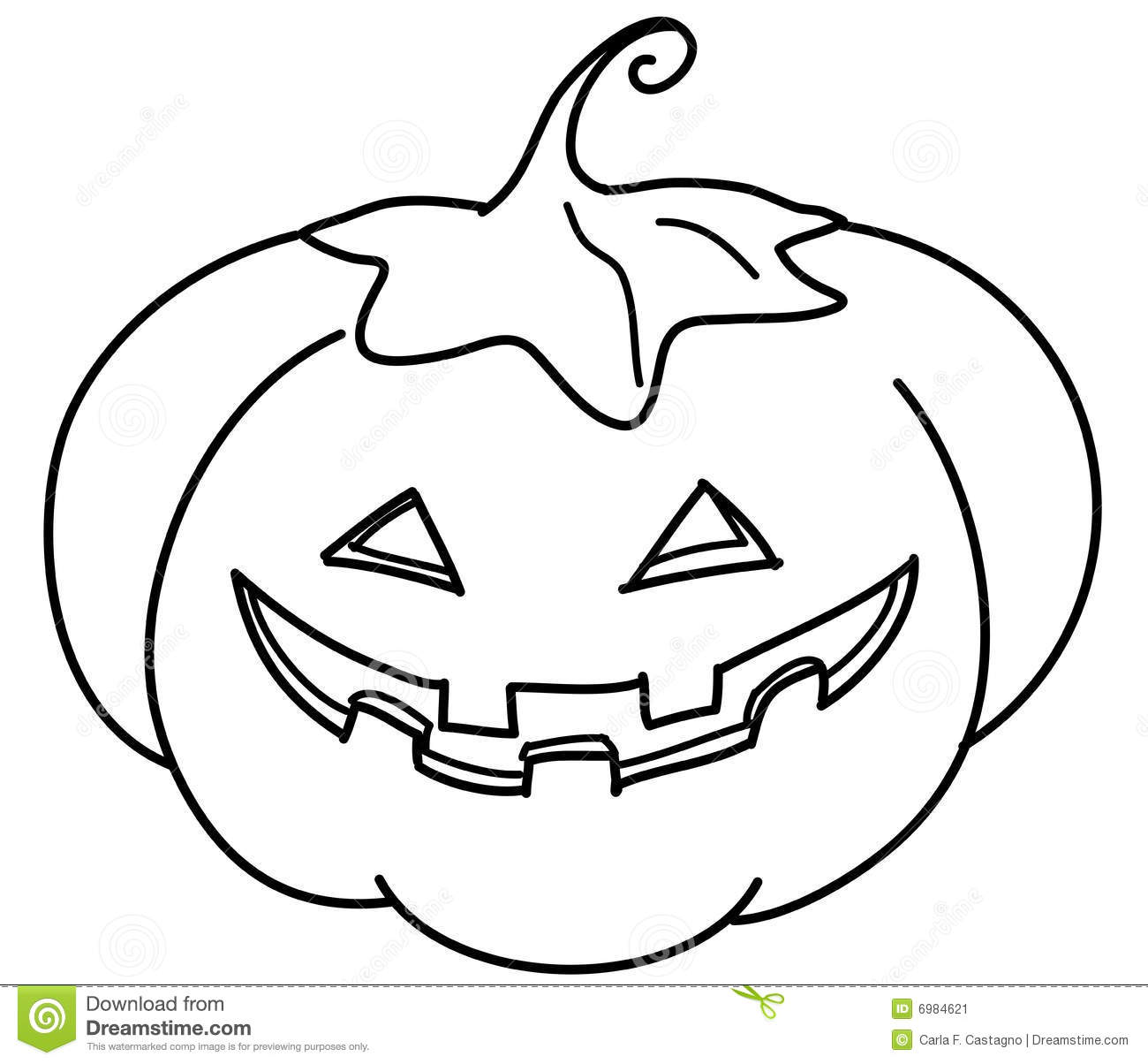 Coloring Jack O Lantern Stock Vector Image Of White