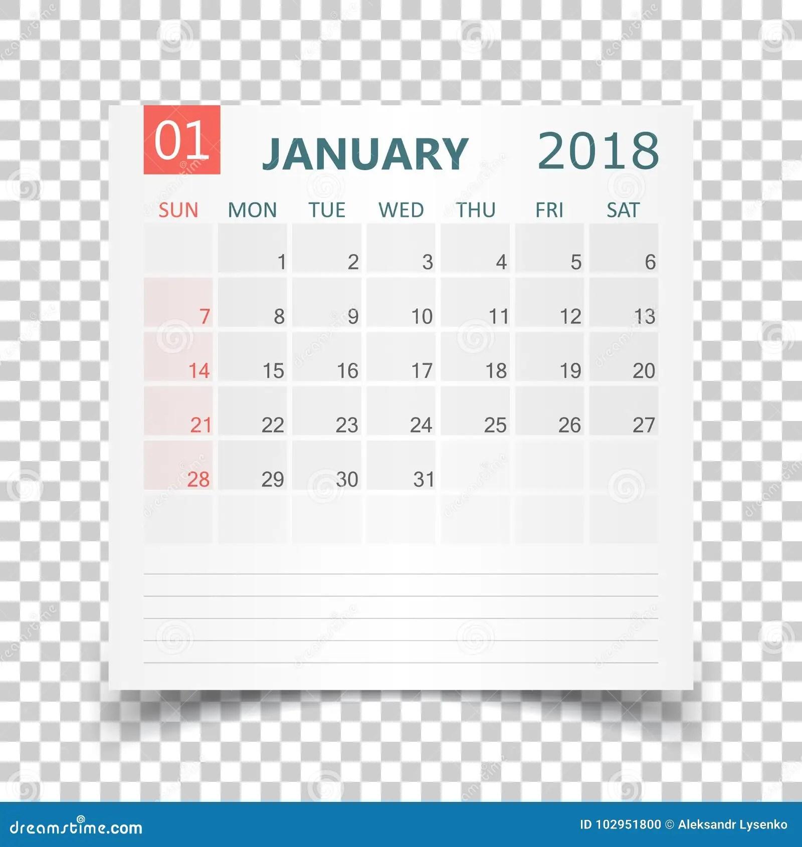 January 2018 Calendar. Calendar Sticker Design Template
