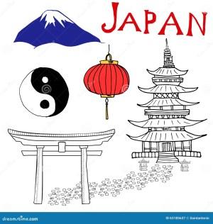 japan pagoda mountain vector fuji japanese draw symbol doodles elements gate lantern yang hand