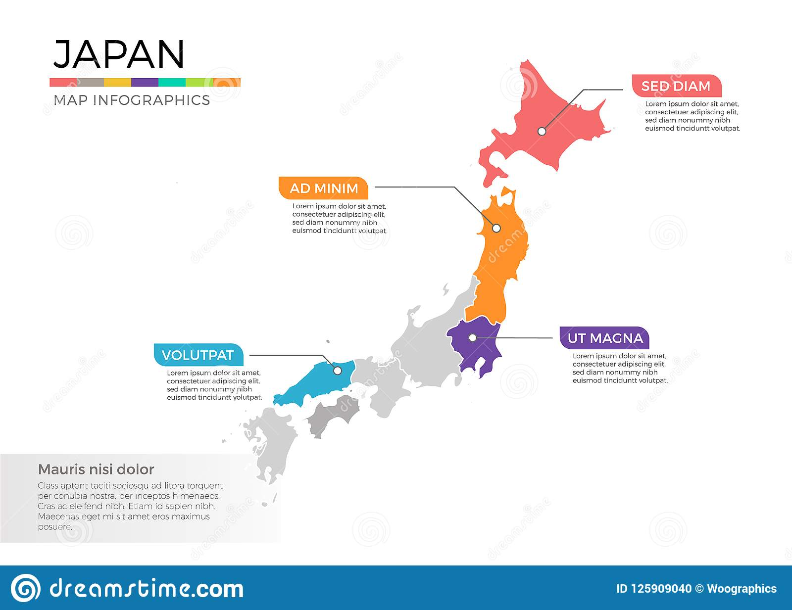 Japan Map Infographics Vector Template With Regions And