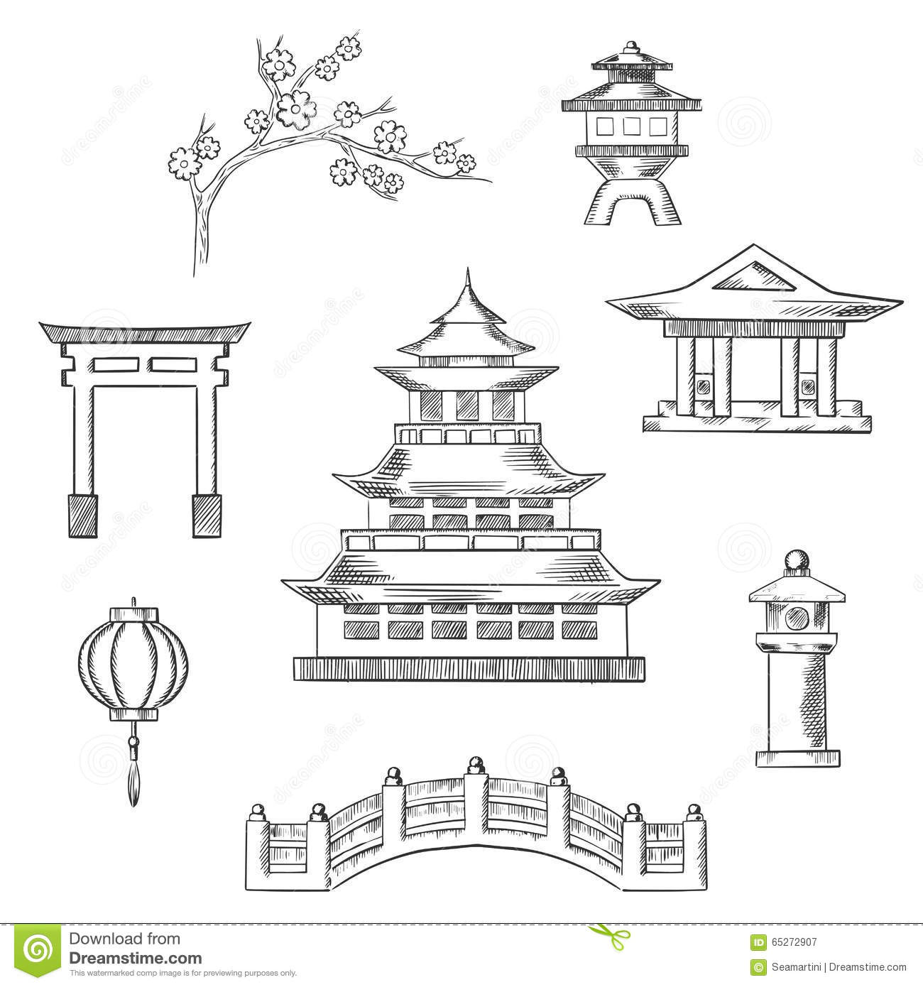 Japan Travel Icons In Sketch Style Stock Vector