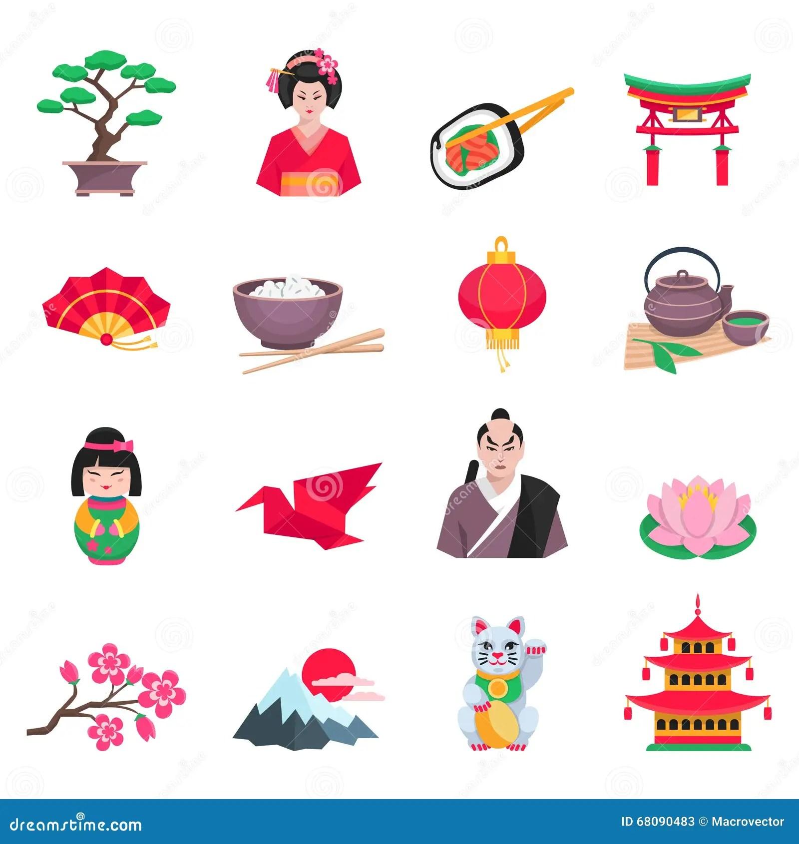 Japanese Culture Symbols Flat Icons Set Stock Vector