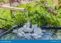 Bamboo Water Fountain In Japanese Garden Stock Photography