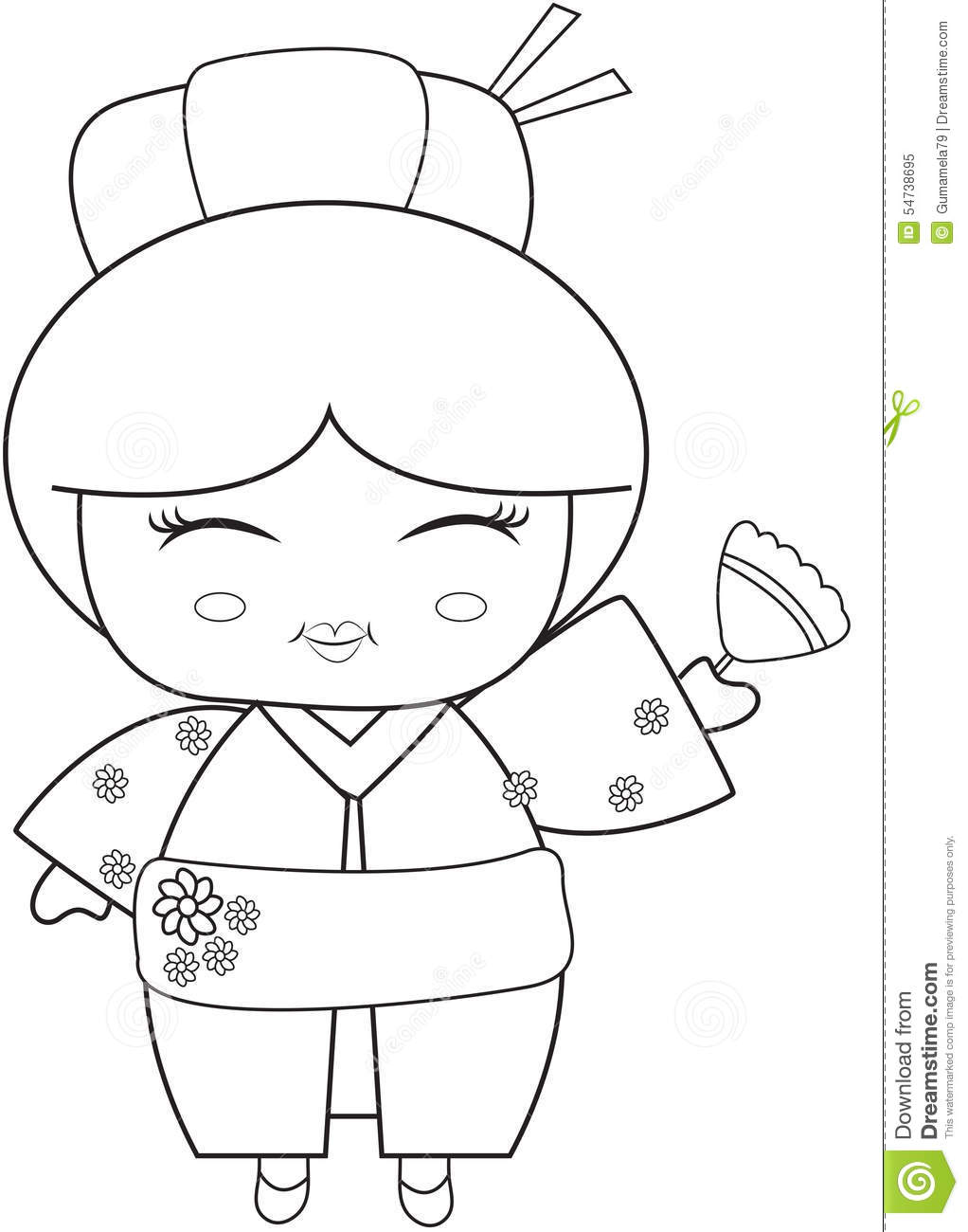 Japanese Girl With A Fan Coloring Page Stock Illustration