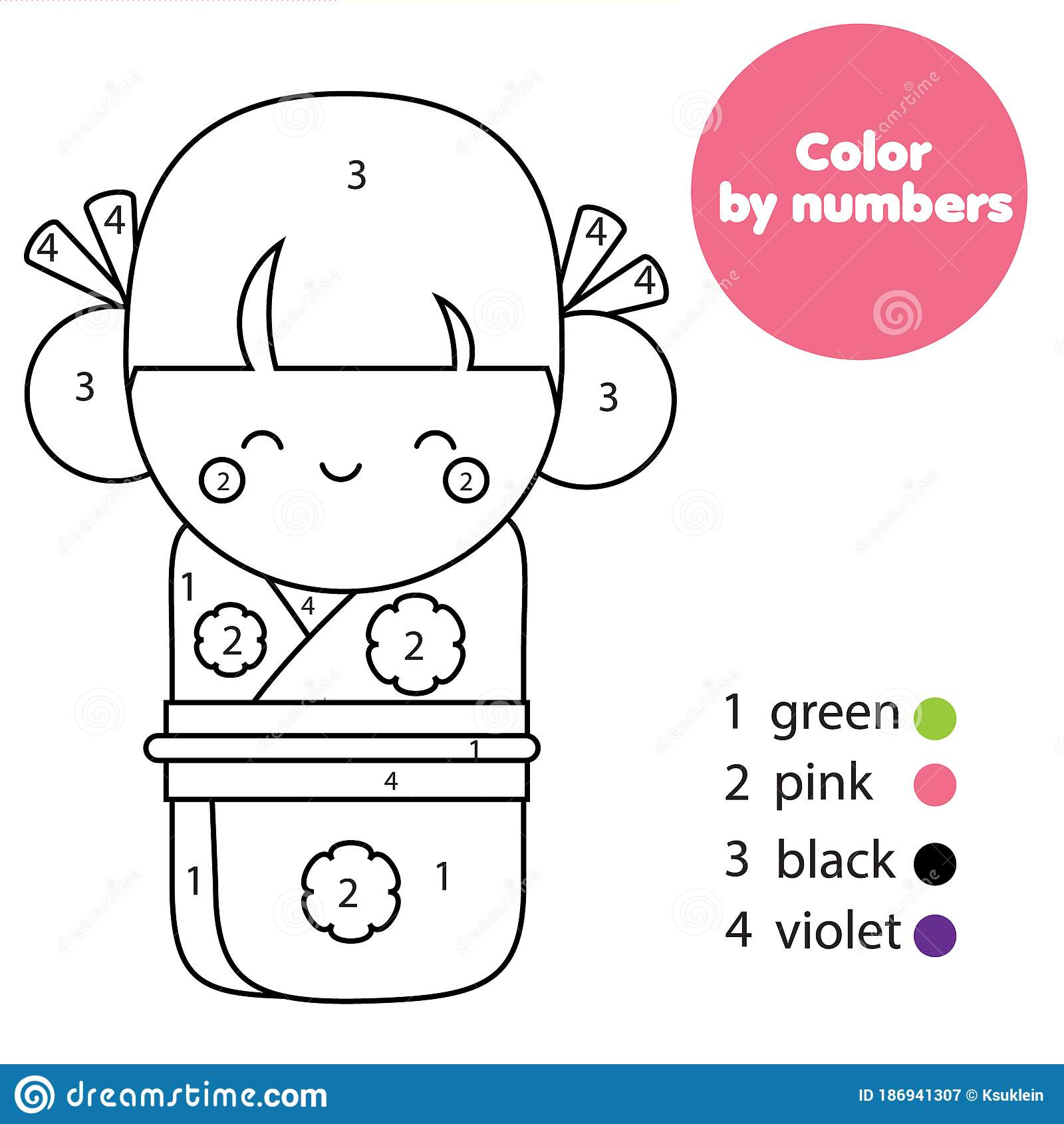Japanese Kokeshi Doll Coloring Page For Kids Educational