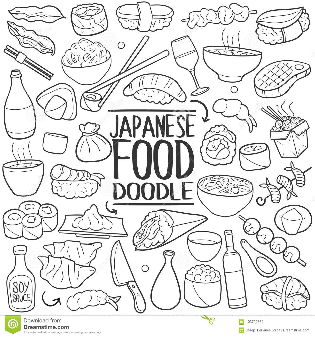 Japanese Menu Food Traditional Doodle Icon Hand Draw Set