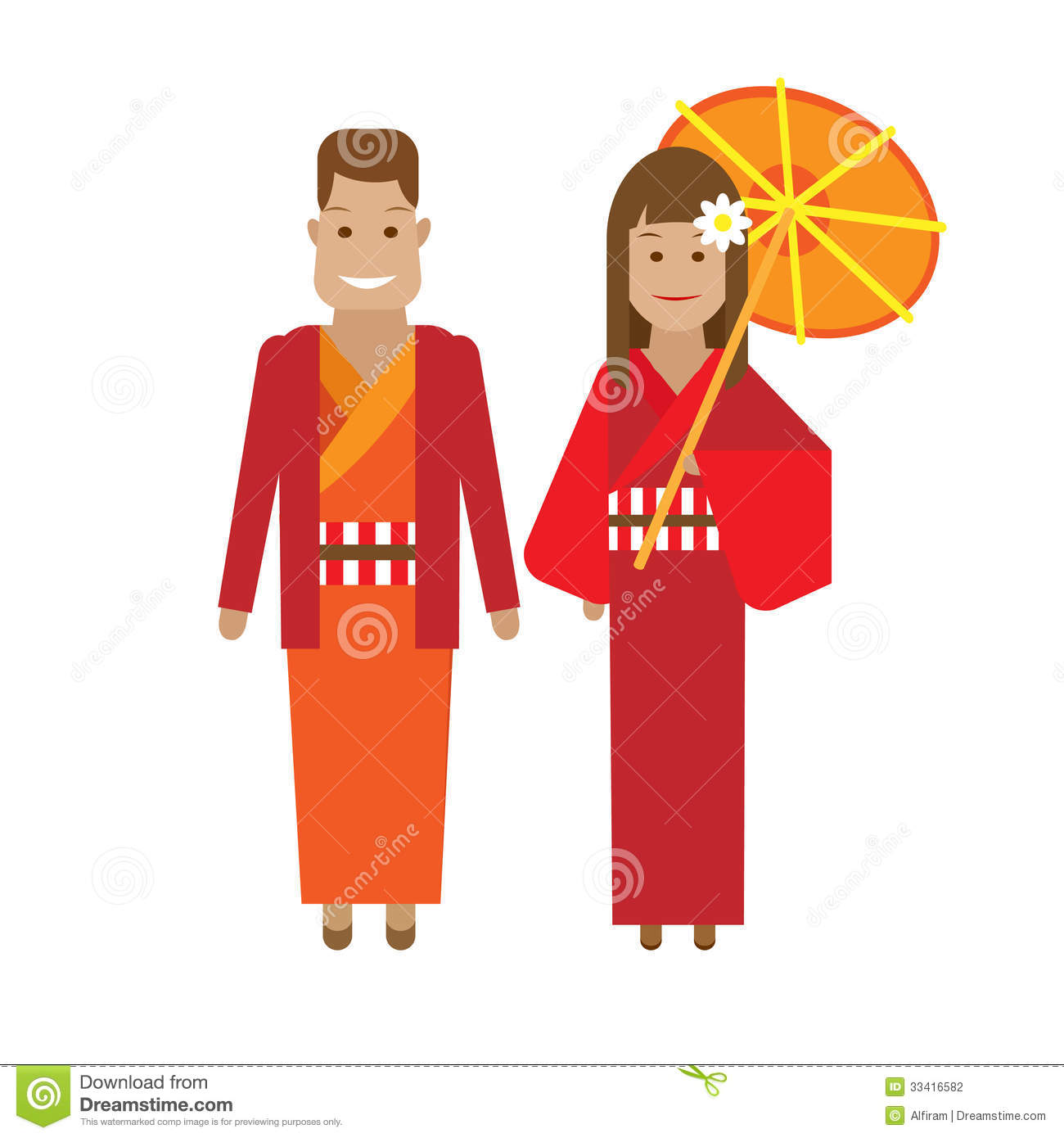 Japanese National Dress Stock Vector Image Of Isolated