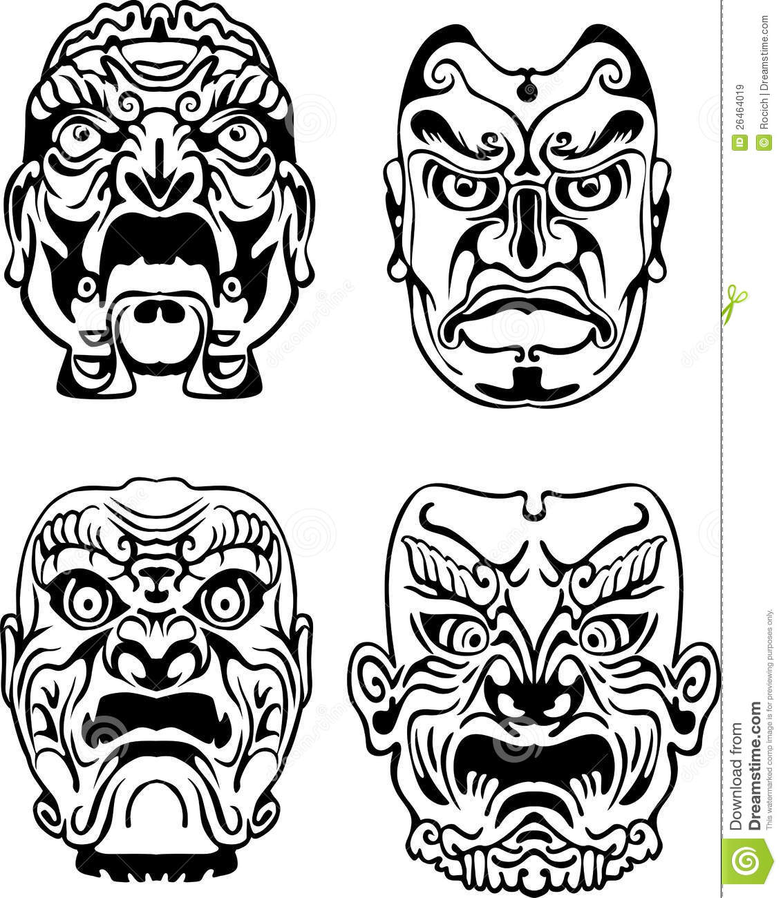 Japanese Noh Theatrical Masks Stock Vector