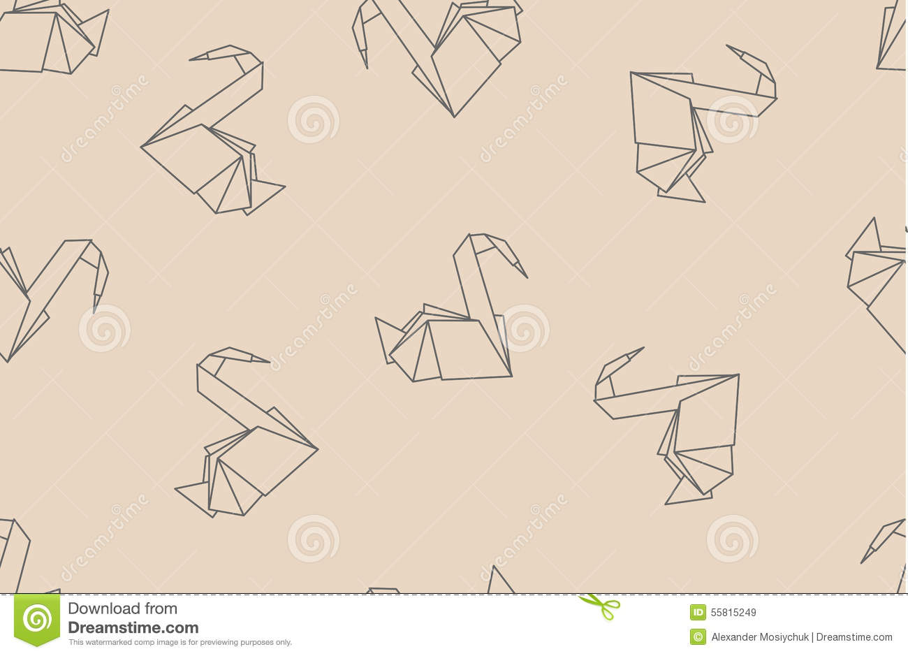 origami paper crane diagram rigid light bar wiring japanese cranes seamless pattern stock vector