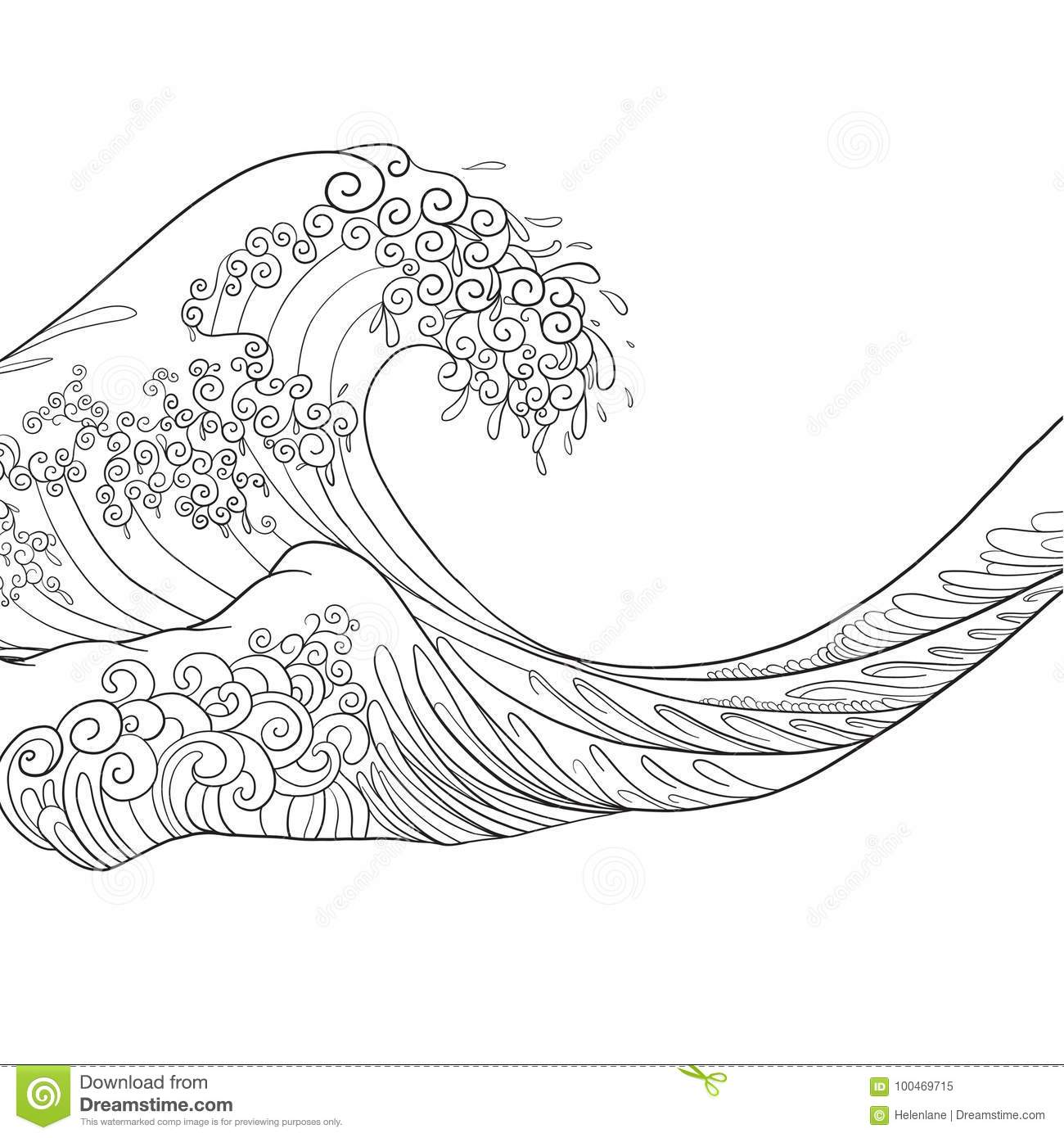 Japanese Wave Isolated Drawing Stock Vector Illustration Stock Vector