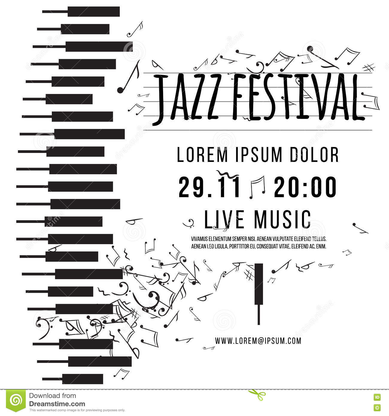 Jazz Music Festival, Poster Background Template. Keyboard