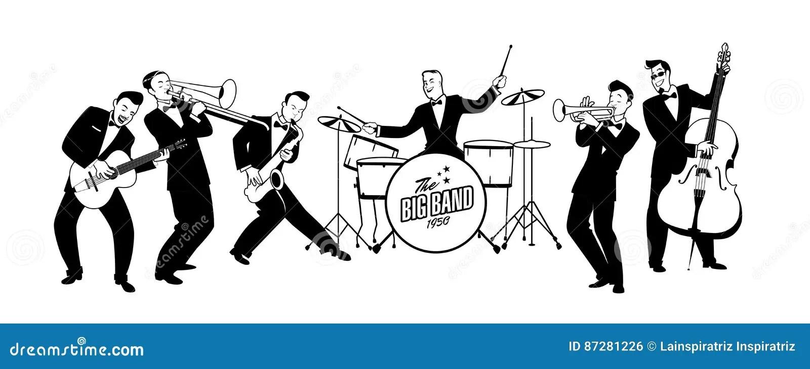 Jazz Swing Orchestra Retro Stil Tecknad
