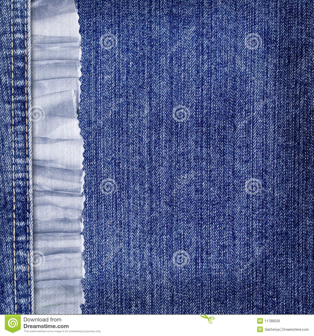 Jeans Background With Lace Border For Design Stock