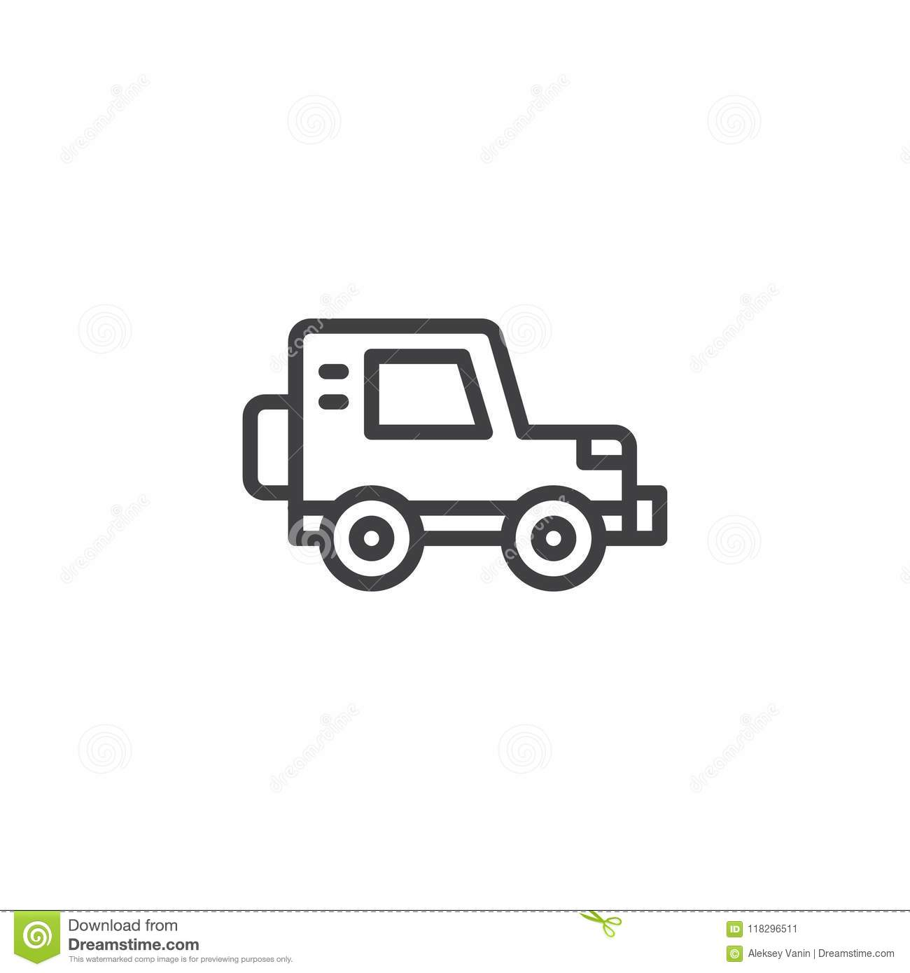Jeep car outline icon stock vector. Illustration of