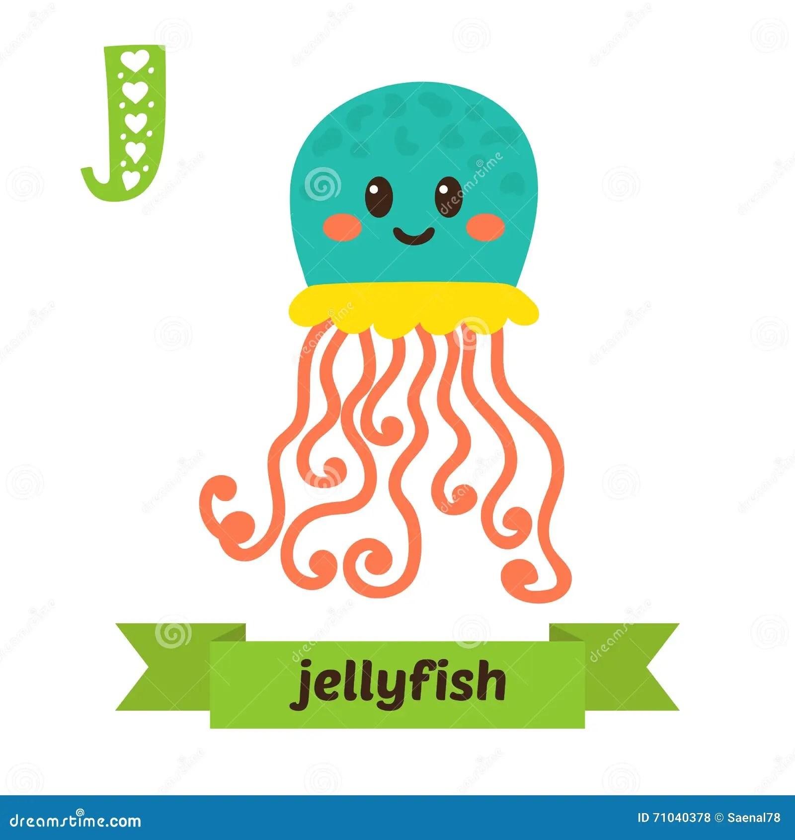 Jellyfish J Letter Cute Children Animal Alphabet In Vector Fu Stock Vector