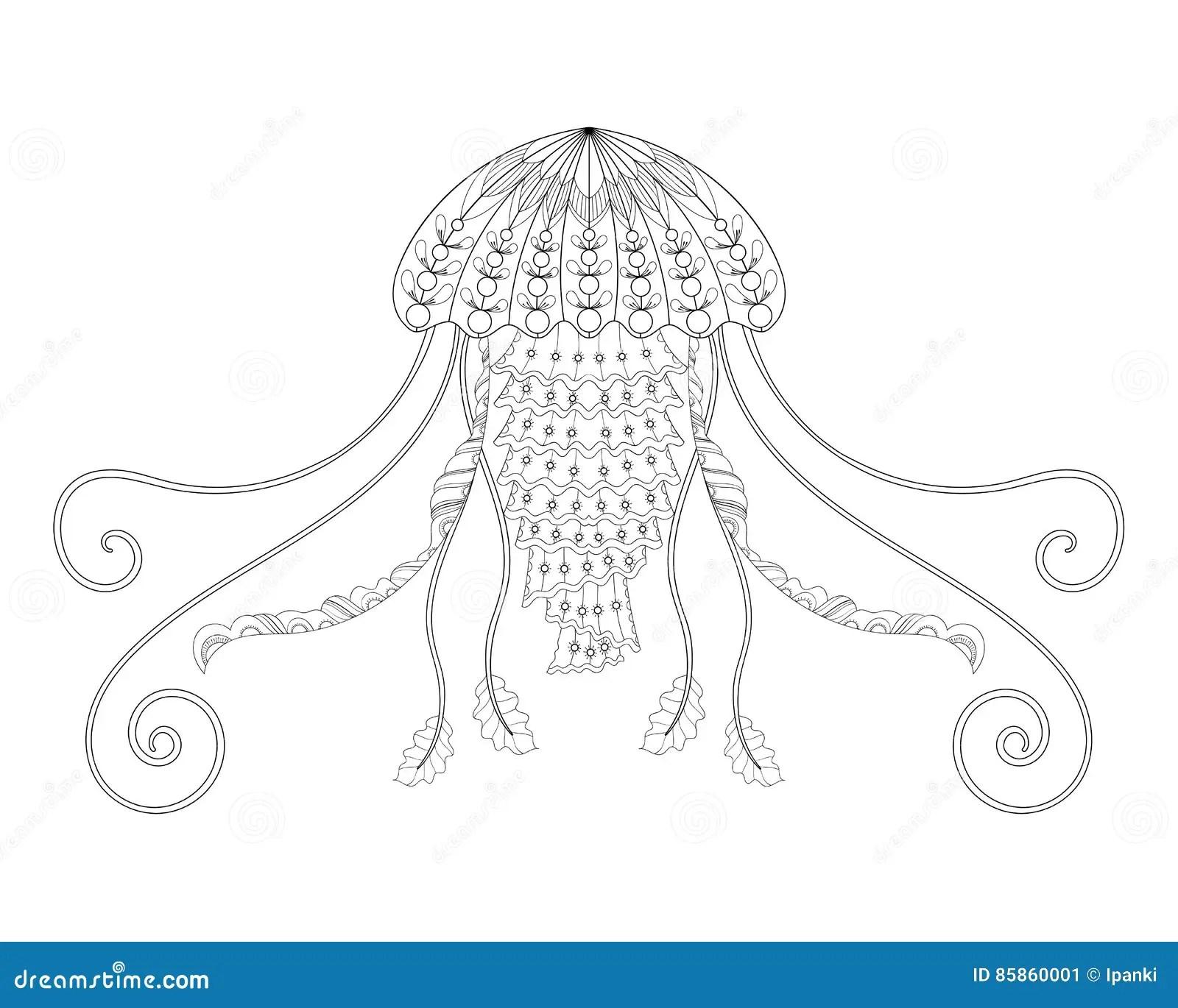 Jellyfish Vector Illustration Hand Drawn Sea Animal For