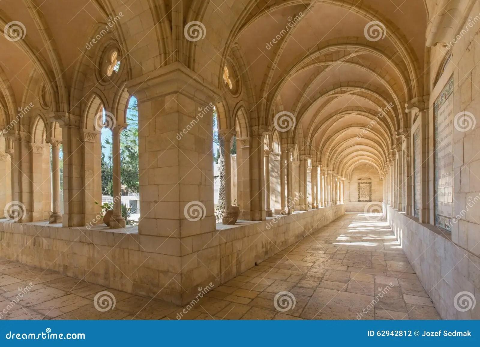 Jerusalem  The Gothic Corridor Of Atrium In Church Of The