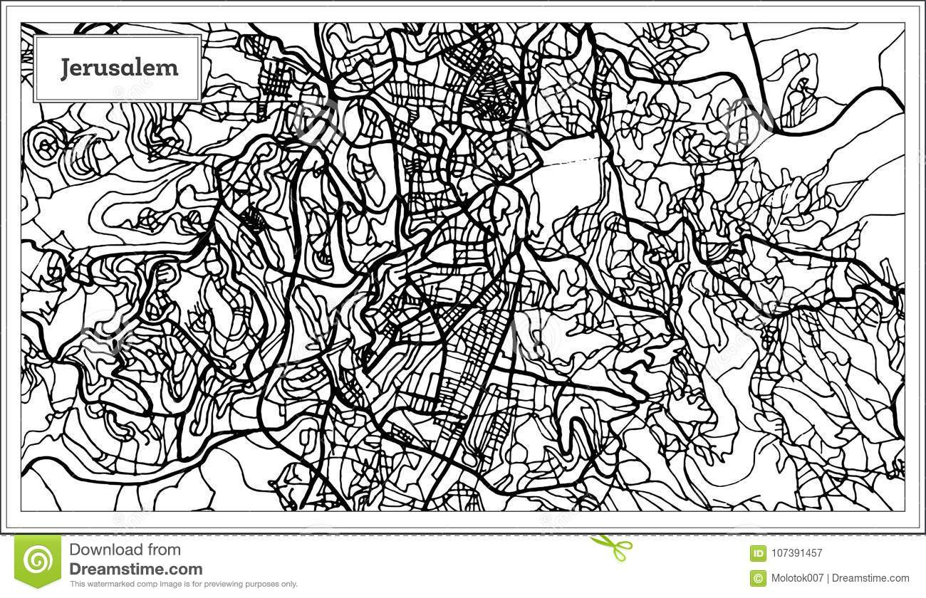 Jerusalem Israel City Map In Black And White Color Stock Vector