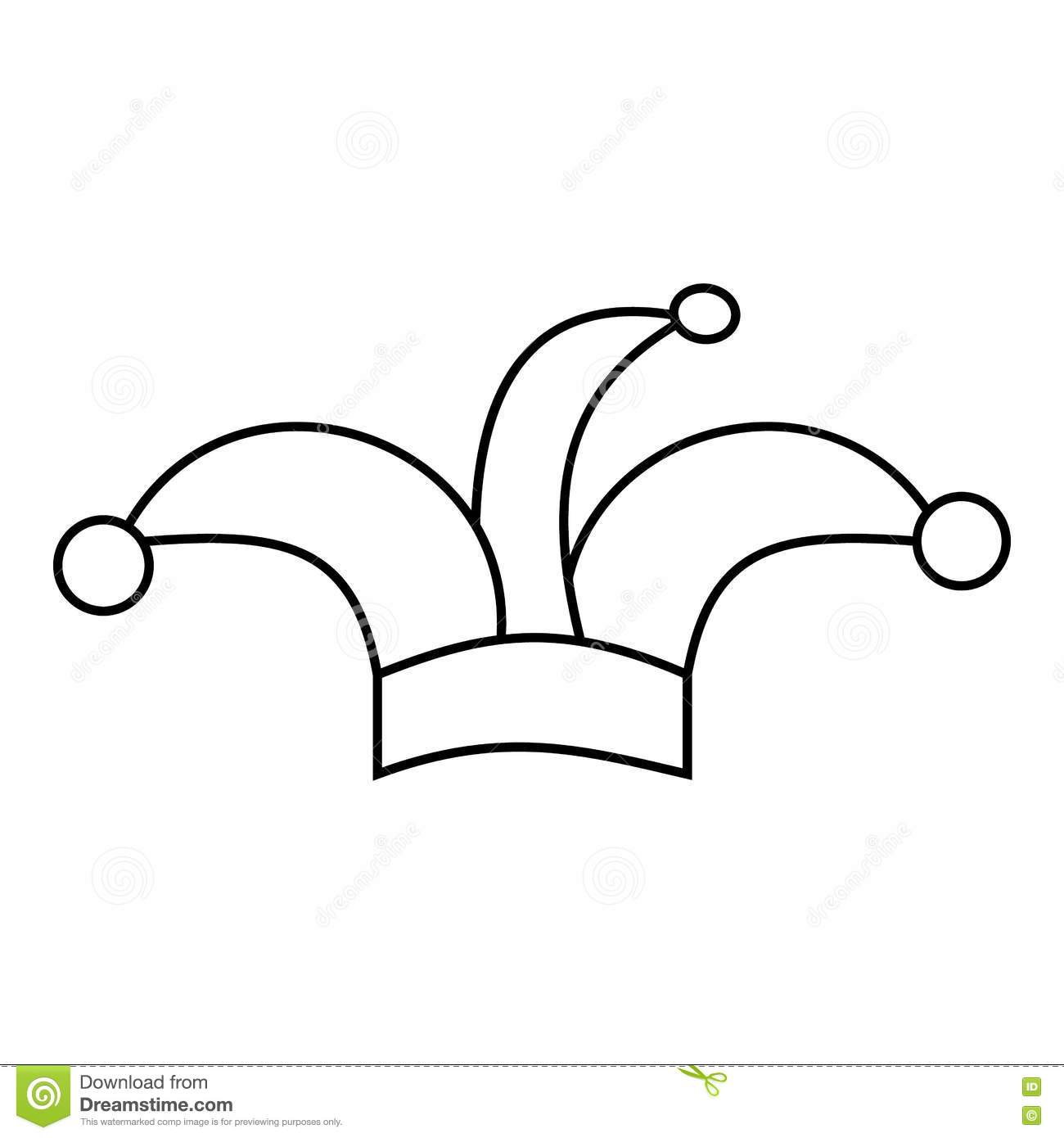 Jester Hat Icon Outline Style Stock Vector
