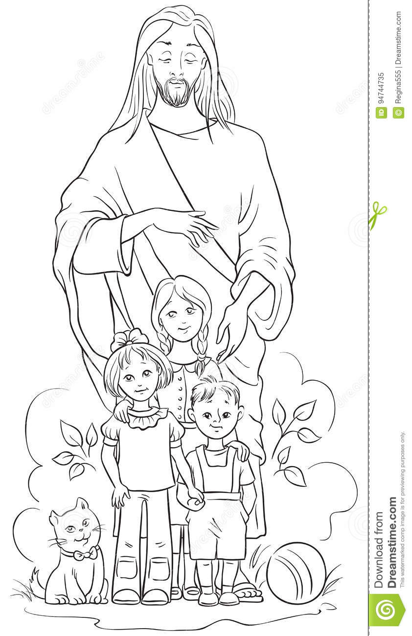 Jesus With Children. Coloring Page Stock Vector
