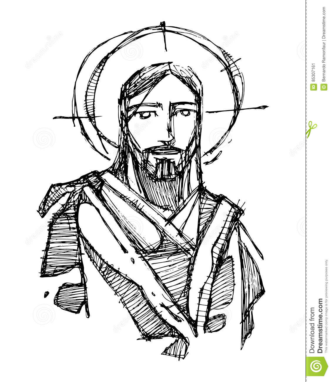 Smiling Jesus Christ Open Hands Isolated Cartoon Vector