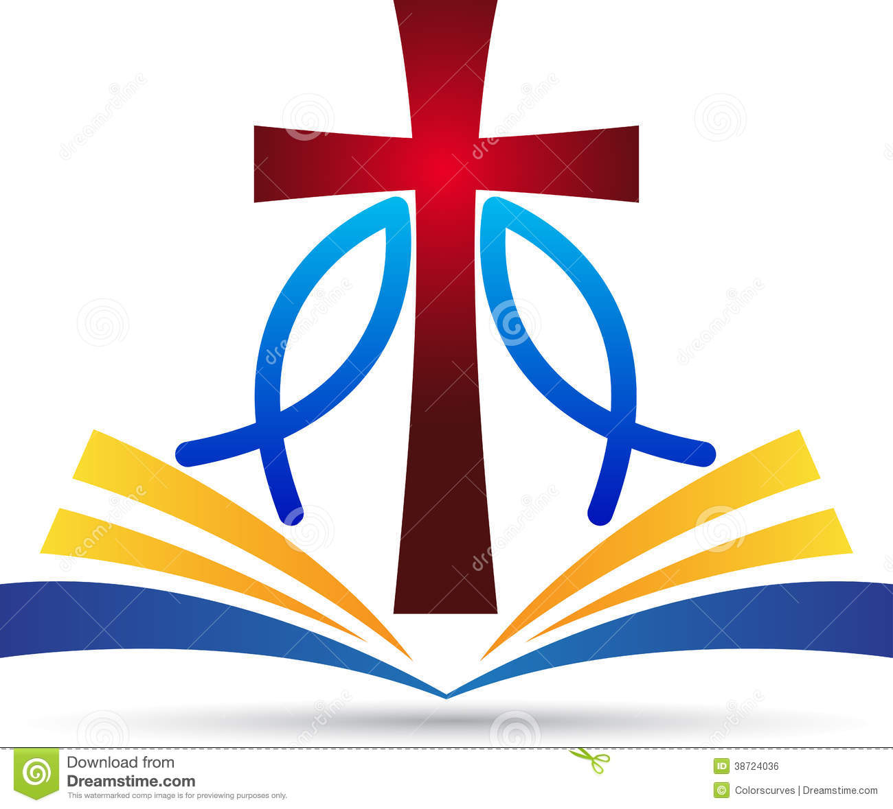 hight resolution of a vector drawing represents jesus cross bible fish design