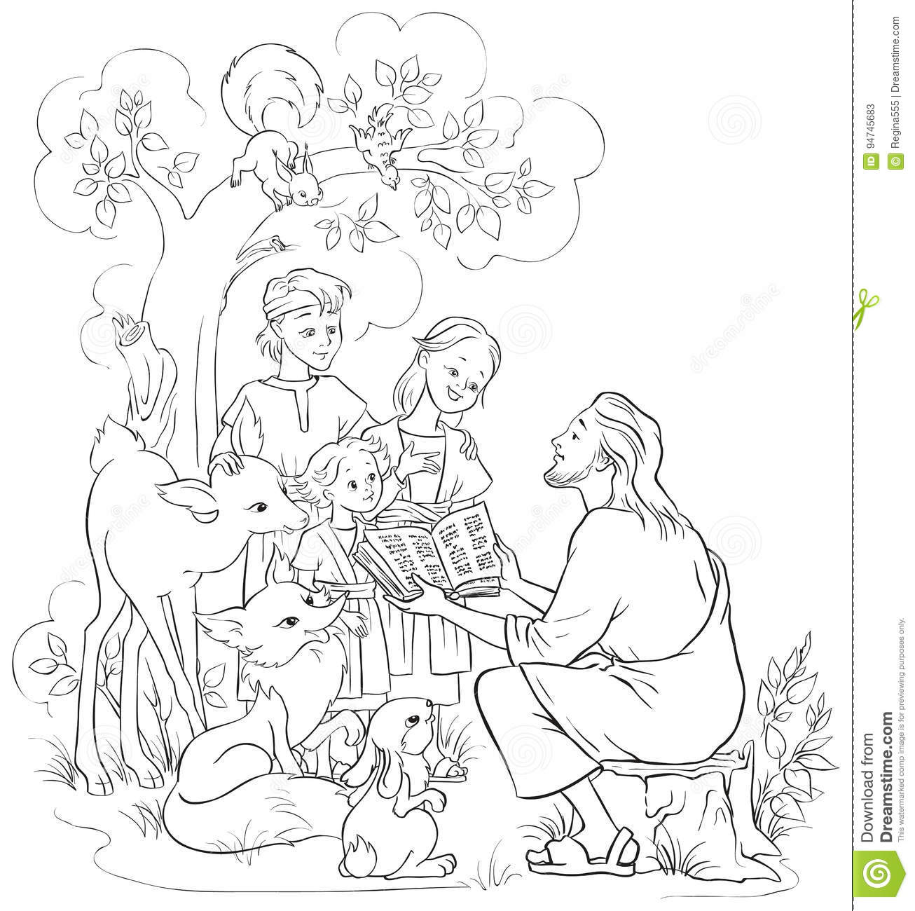 Jesus Reading The Bible To Children And Animals. Coloring